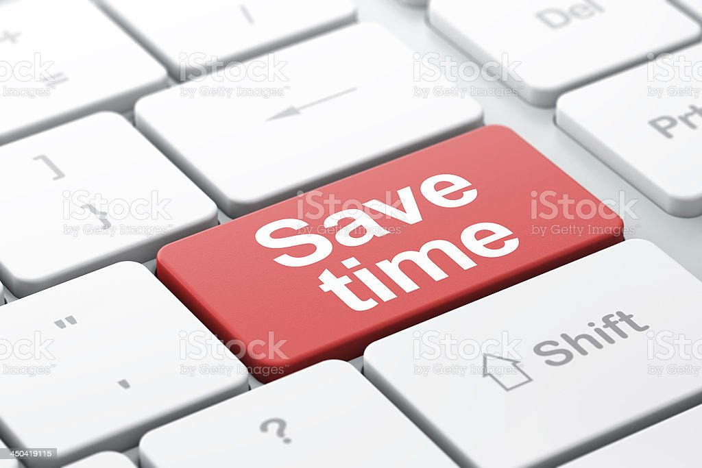 Save Time on computer keyboard background royalty-free stock photo