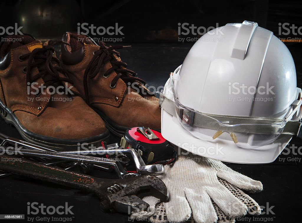 savety helmet and construction equipment stock photo