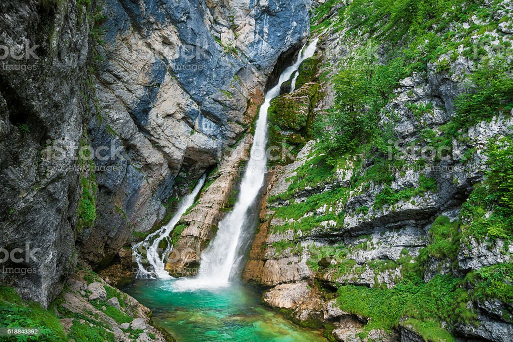Savica waterfall near Bohinj in Triglav National Park, Slovenia stock photo