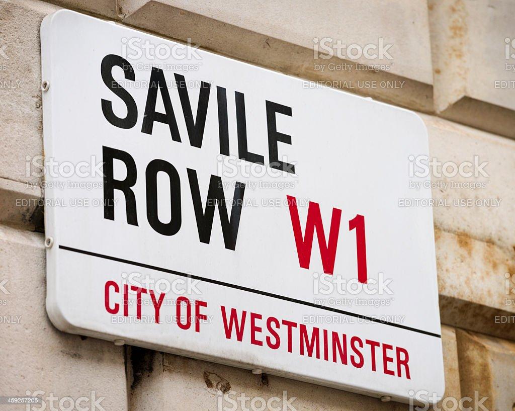 Savile Row Street Sign royalty-free stock photo