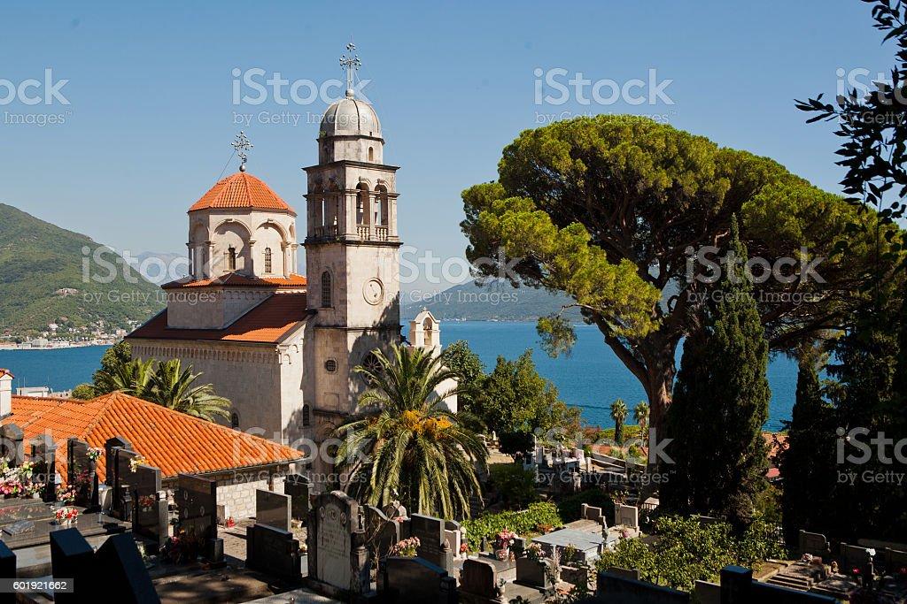 Savina Monastery in Herceg-Novi, Montenegro. stock photo