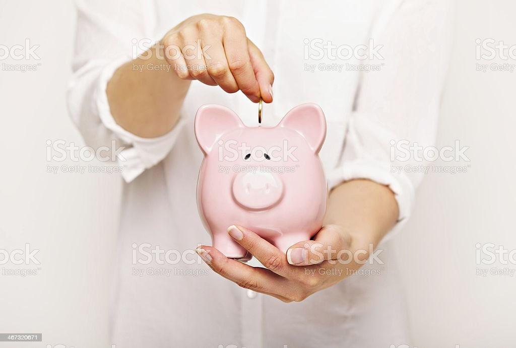 Saving a Penny for the Rainy Day stock photo