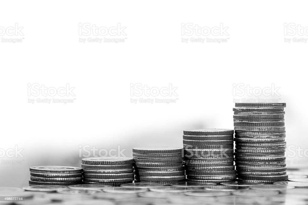 Saving and Business concept, Money coin stack growing graph stock photo