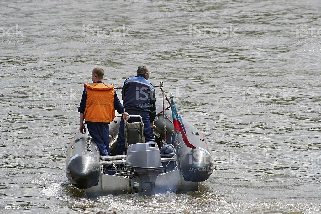 Saving boat stock photo