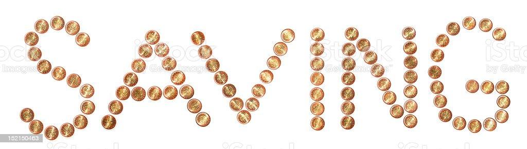 Saving Coin Text stock photo