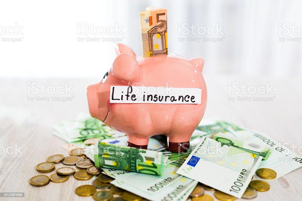 Saving concept. Piggy bank with an inscription life insurance stock photo