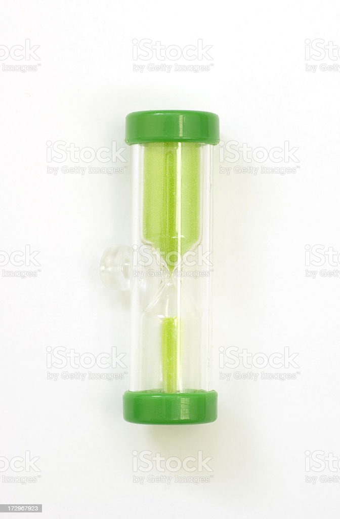 Saving Energy: Green Douche Timer (Hourglass) on White royalty-free stock photo