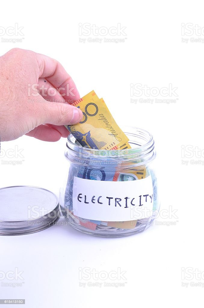 Saving for the electricity bill stock photo