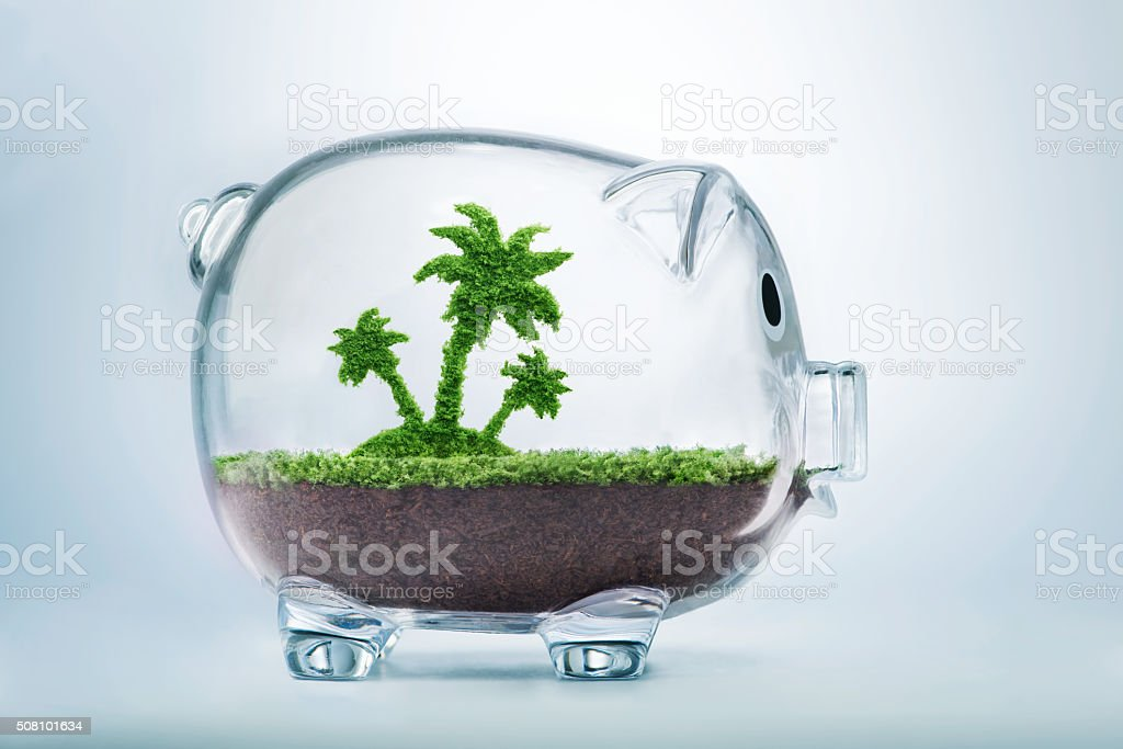 Saving for vacation concept stock photo