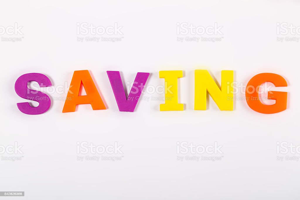 Saving magnetic letters show on white board stock photo