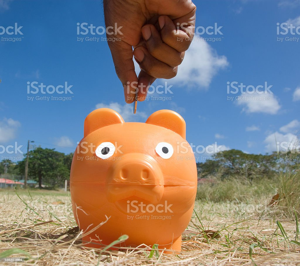 saving money by piggy bank in dry field royalty-free stock photo