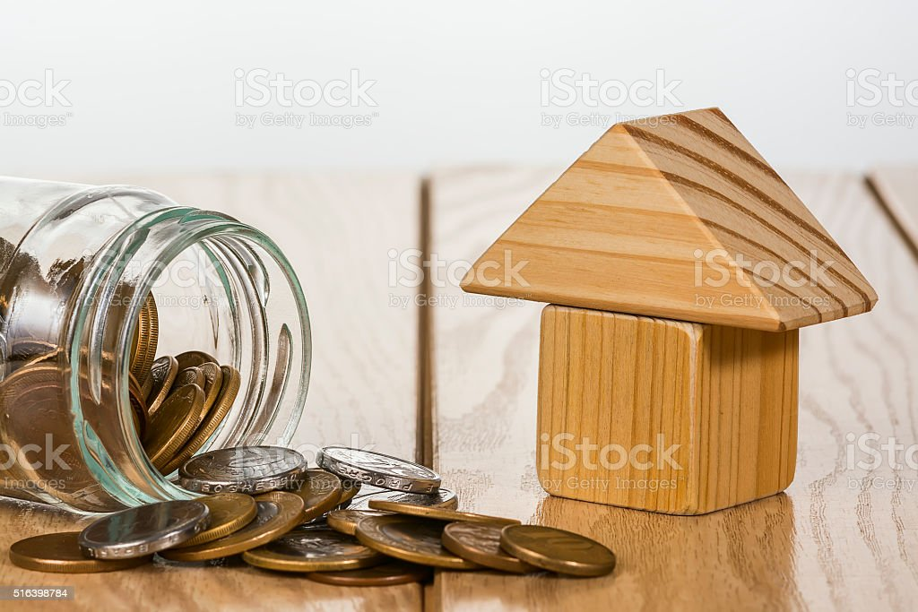 Saving money to buy a house. stock photo