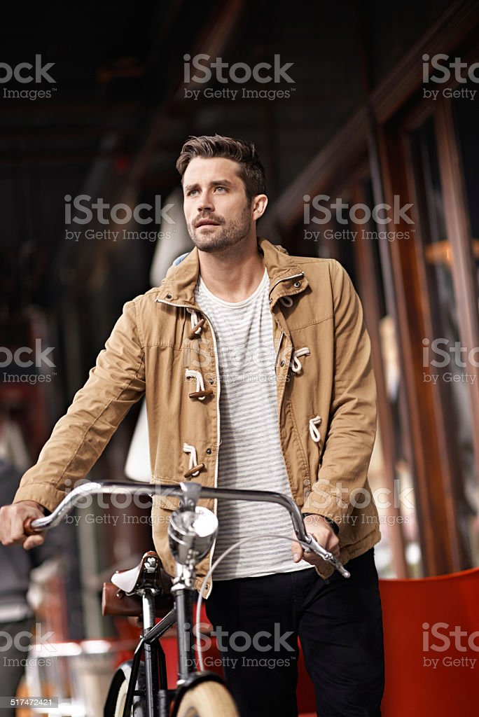Saving the environment by cycling stock photo