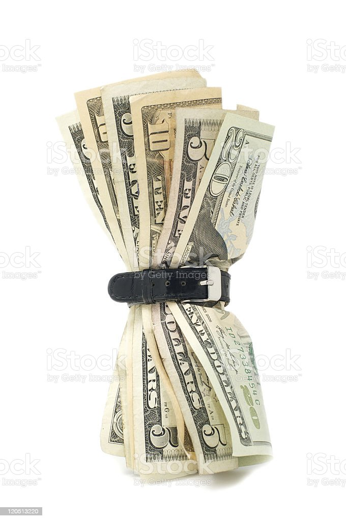 Saving , tighten your belt stock photo