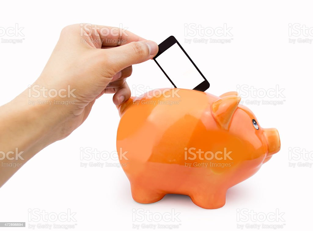 saving with the mobile fee stock photo