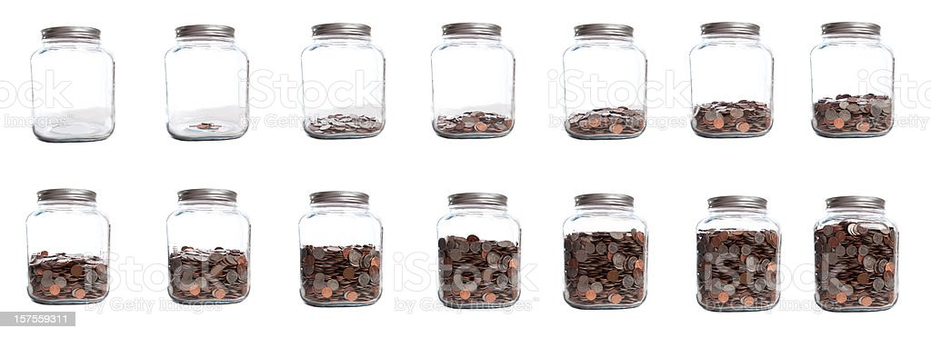 Saving Your Coins Series of Jar Filling stock photo