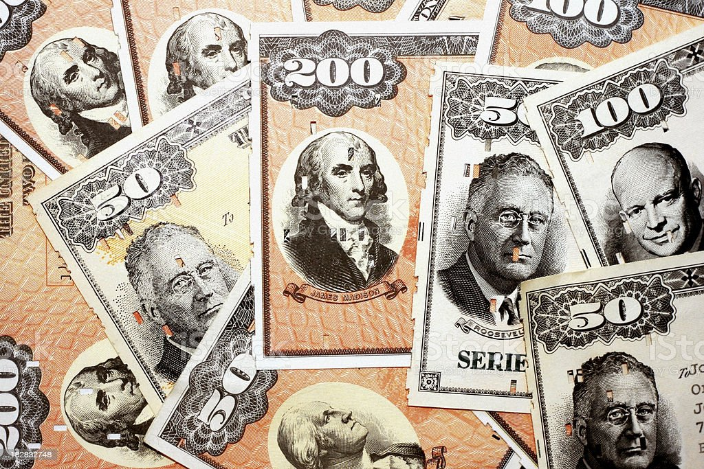 U.S. Savings Bond Background stock photo