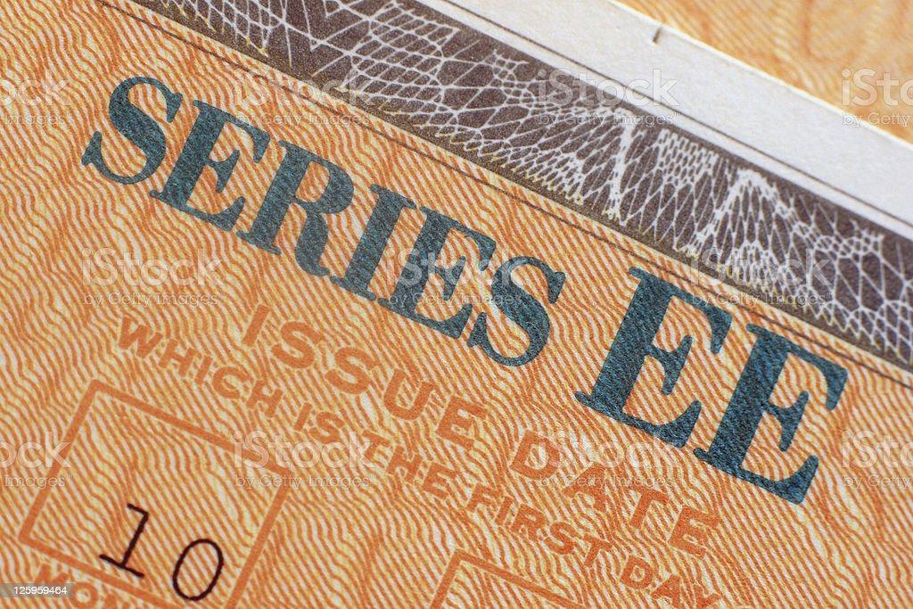 U.S. Savings Bond Closeup - EE royalty-free stock photo