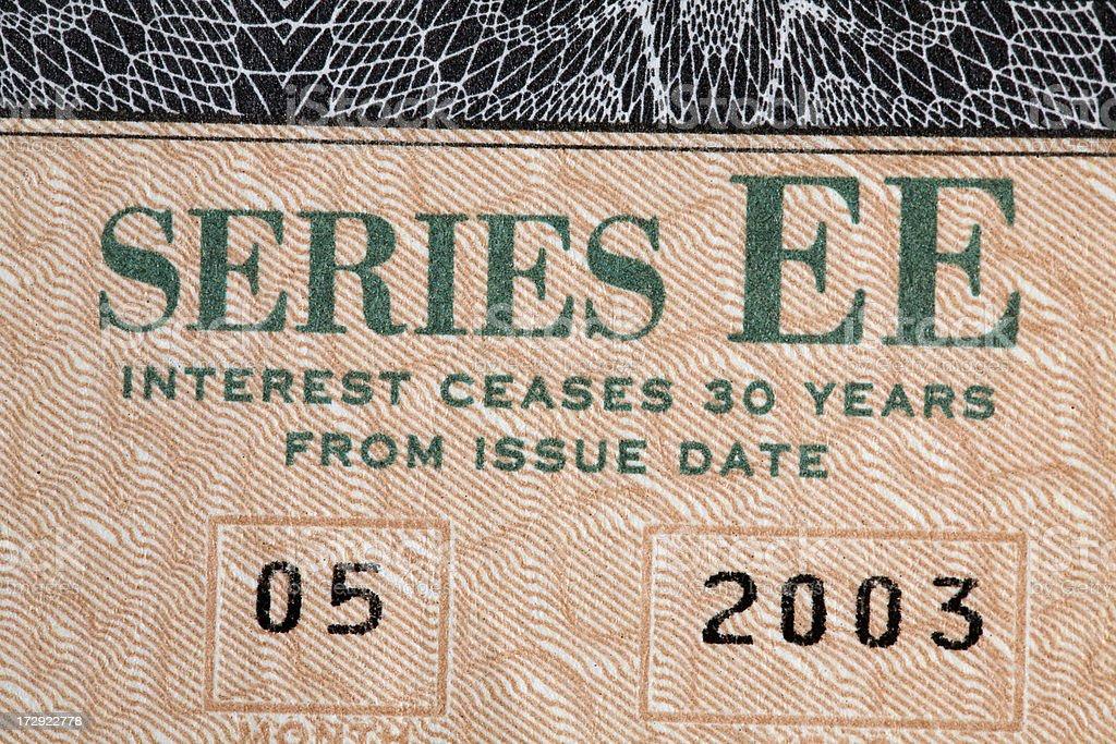 Savings Bond Detail stock photo