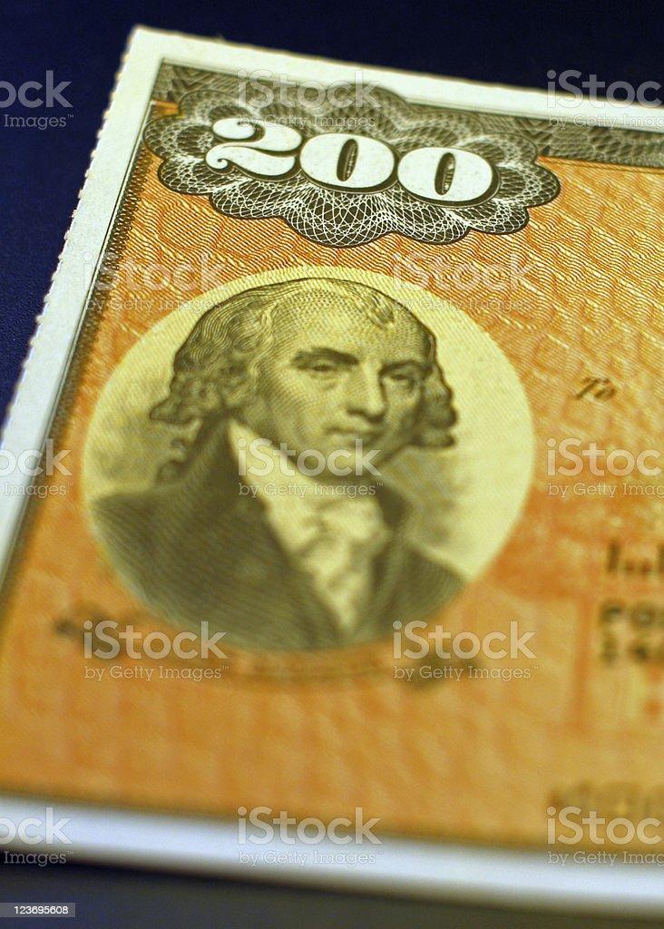 $200 U.S. Savings Bond stock photo