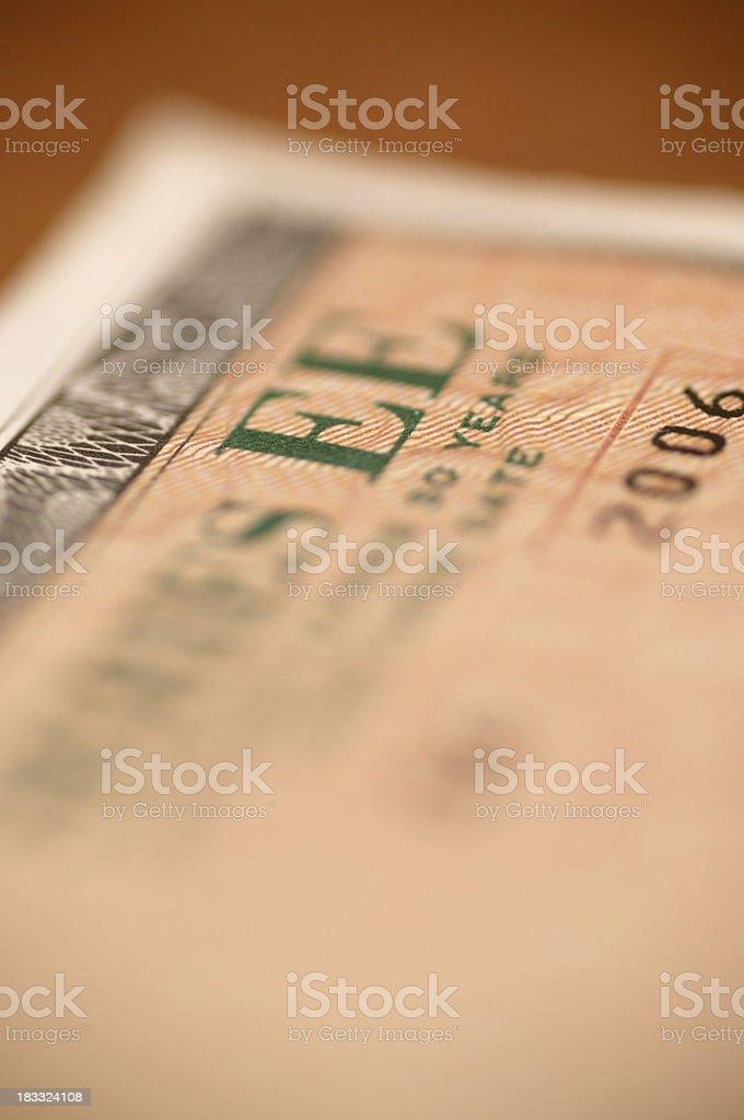 U.S. Savings bond stock photo
