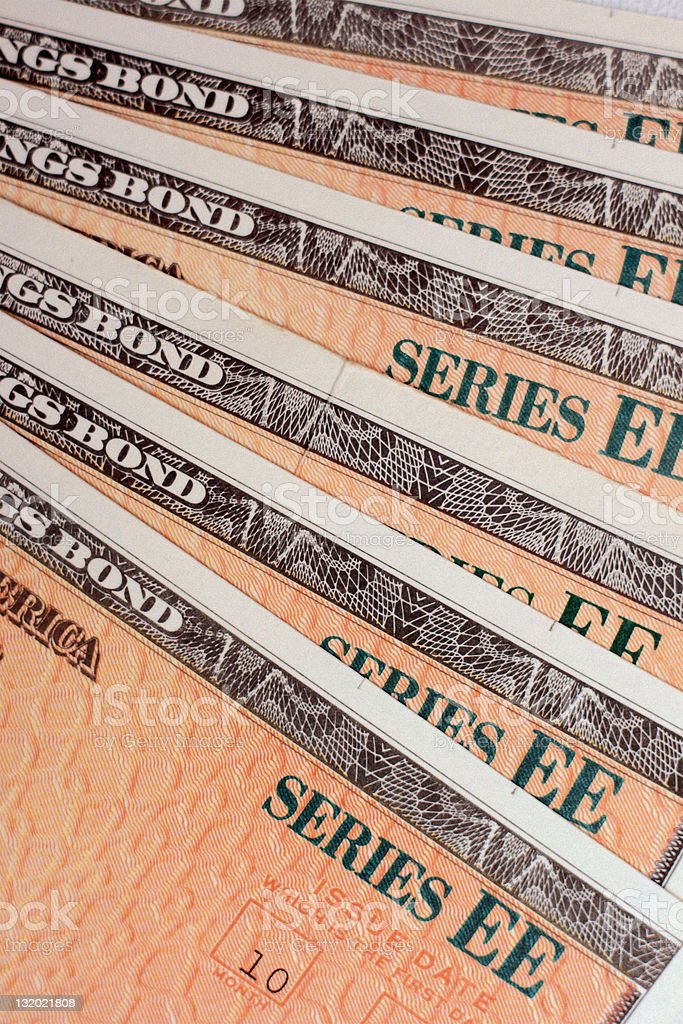 U.S. EE Savings Bonds - Fanned Out stock photo