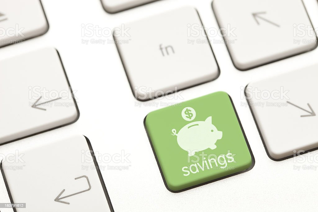 Savings computer key stock photo
