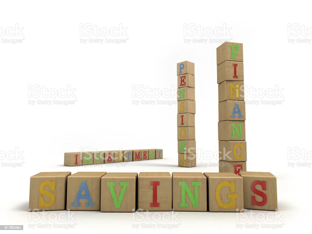Savings concept - Child's play building blocks stock photo