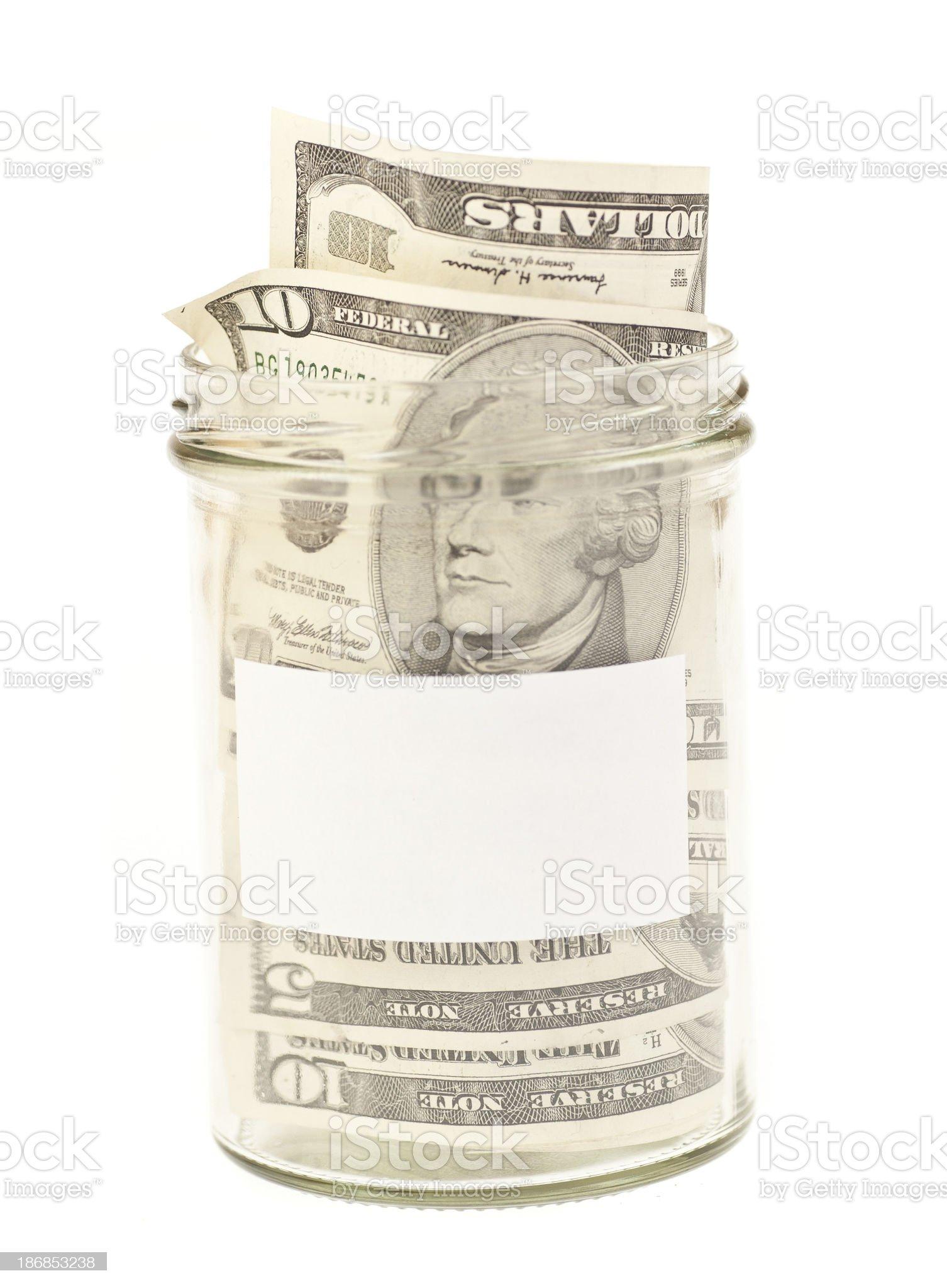 savings dollar in jar royalty-free stock photo