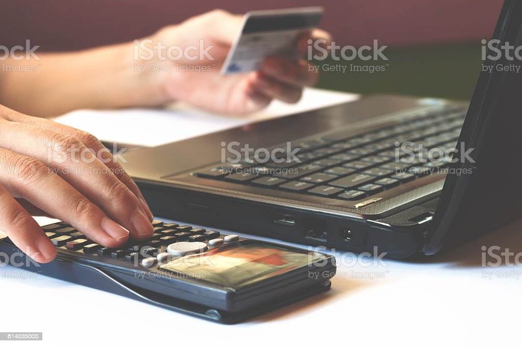 savings, finances, economy and office concept, calculate how muc stock photo