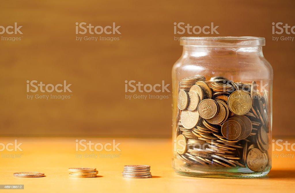 Savings in a jar. stock photo