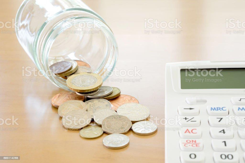 Savings Jar and British Coins stock photo