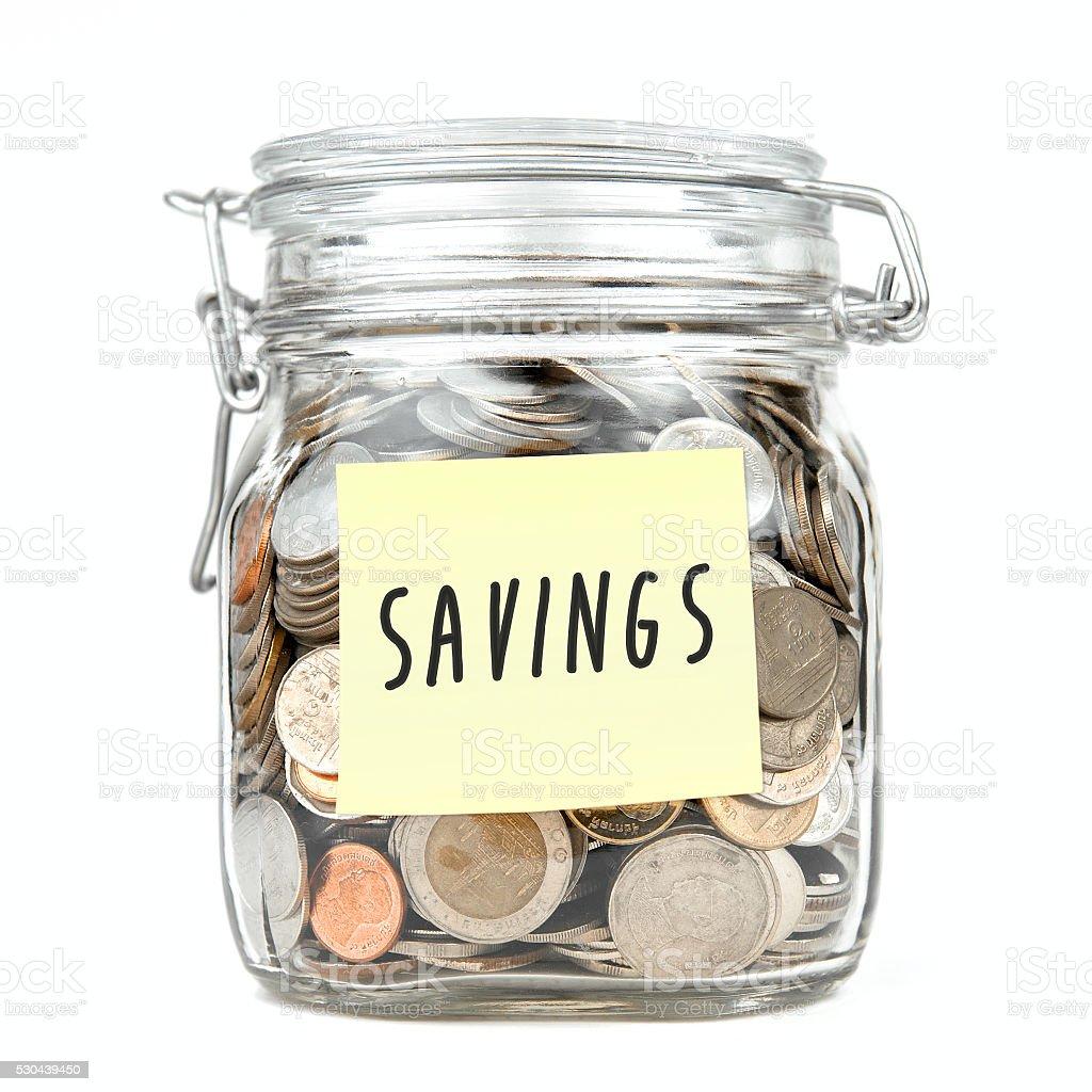 Savings money box coins stack thai baht isolated white background stock photo