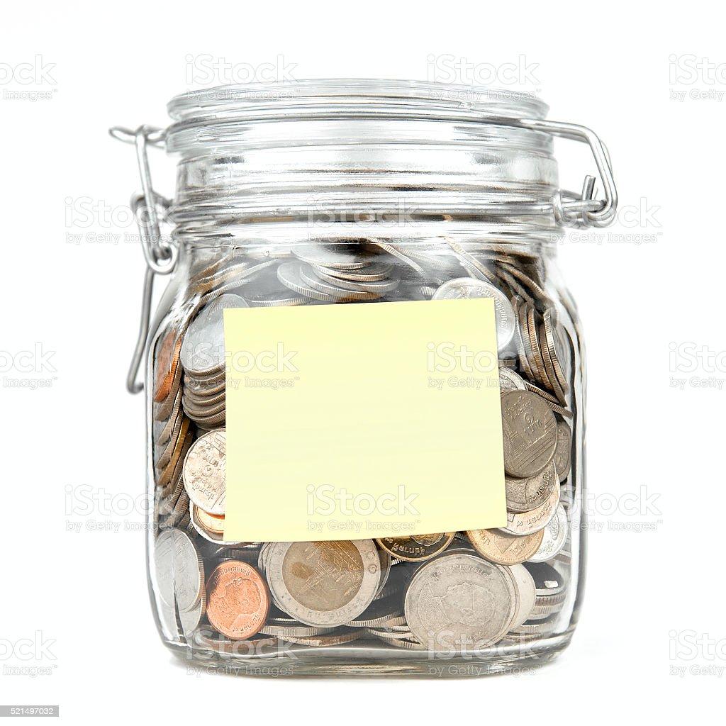 Savings money box coins stack thai baht on white background stock photo