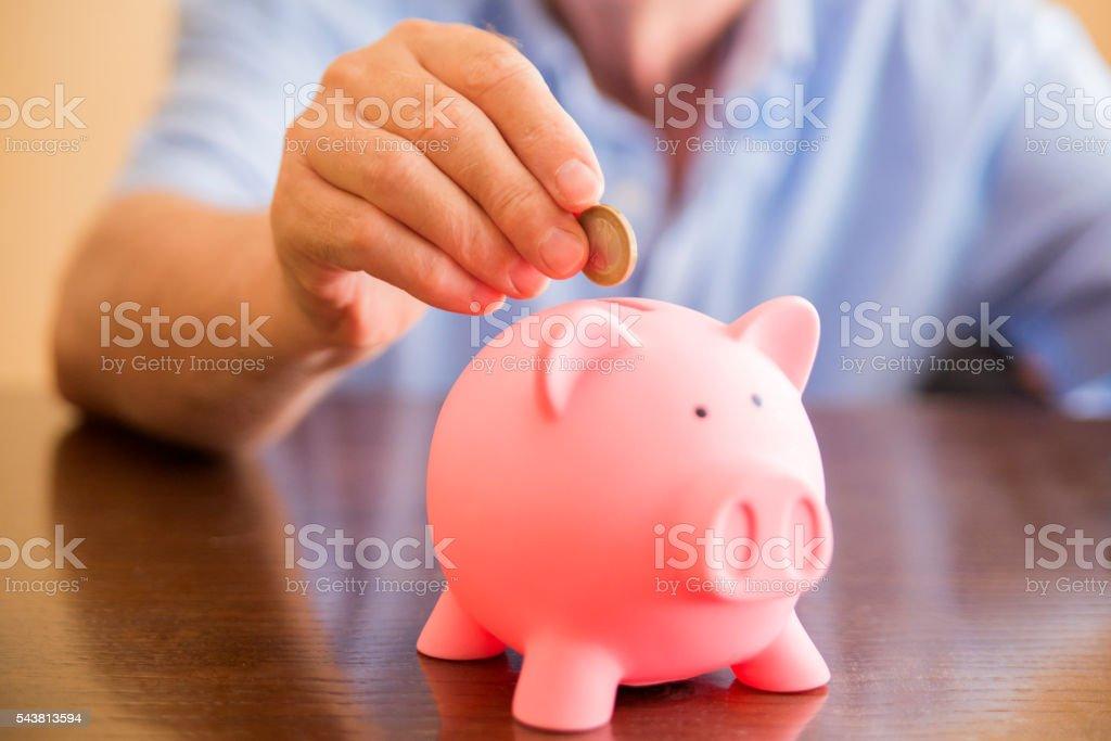 Savings, Piggy Bank, Coin, Coin Bank, Human Hand stock photo