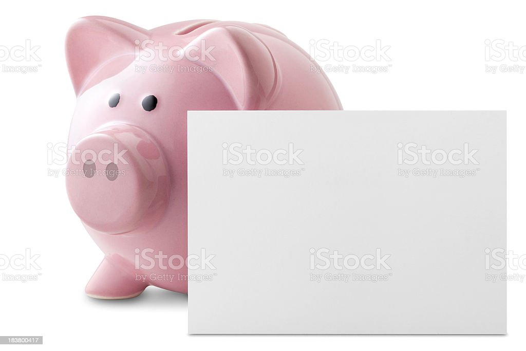 Savings. Piggy bank with blank note. stock photo