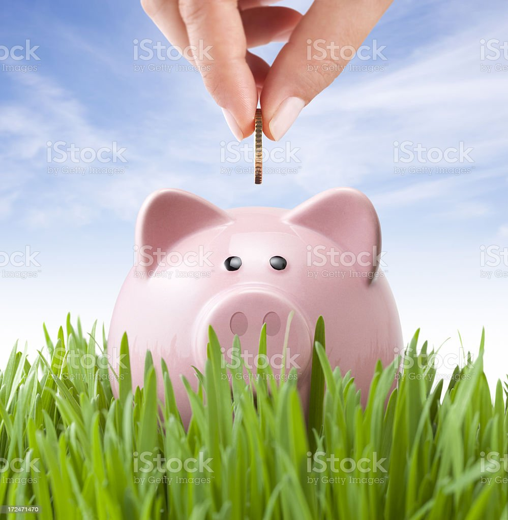 Savings. Planting seeds for the future. stock photo