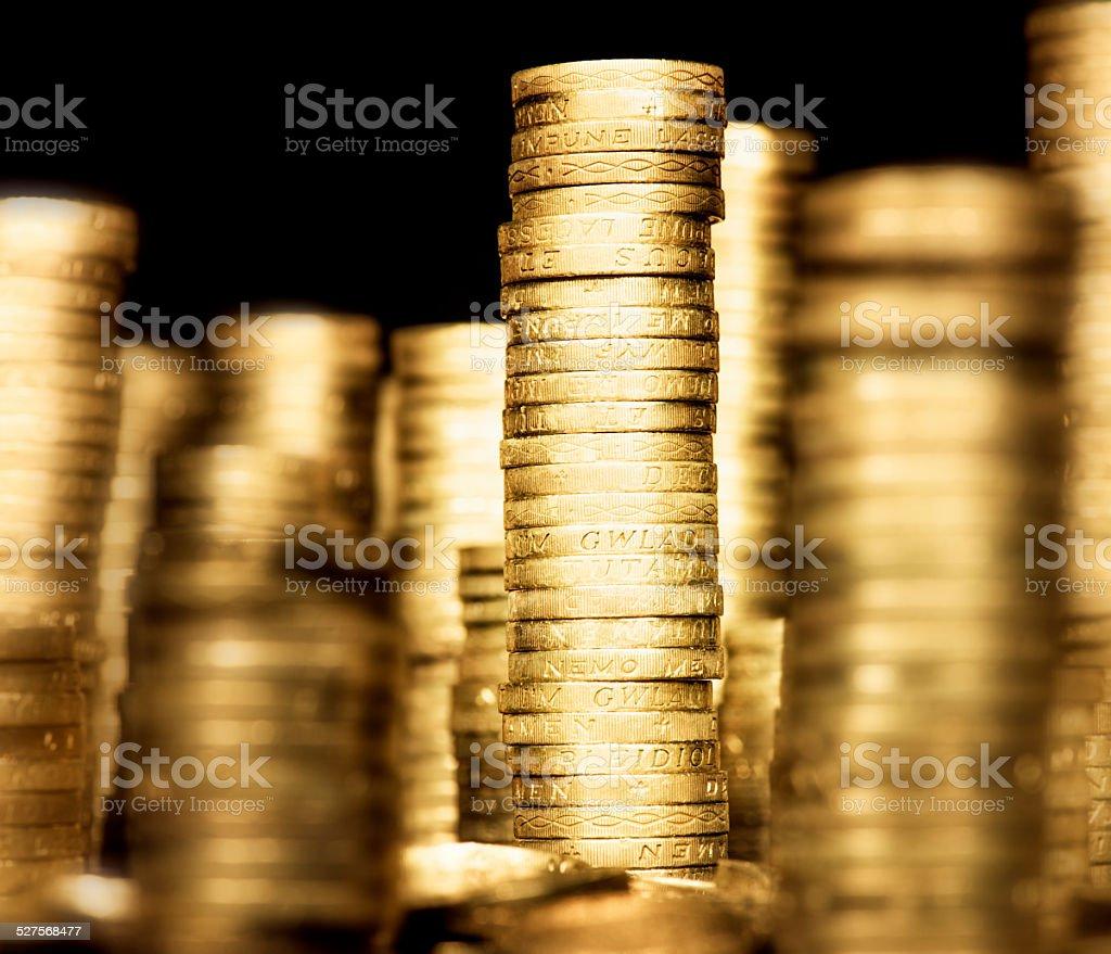 Savings: Stacks of British Pound Coins stock photo