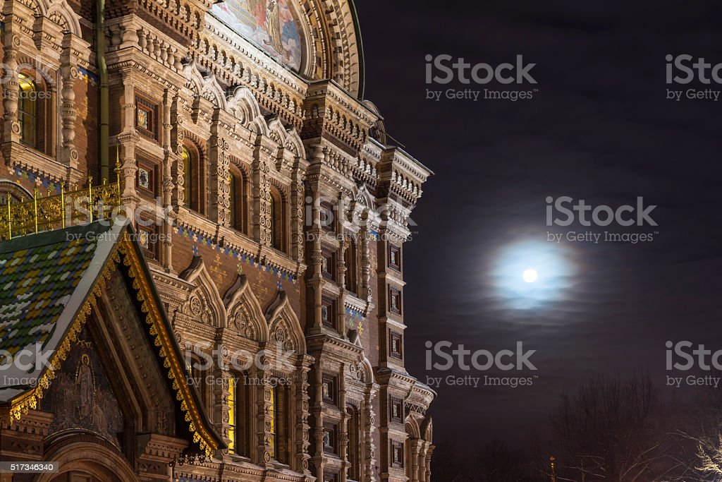 Savior on Spilled Blood in St. Petersburg in the winter stock photo