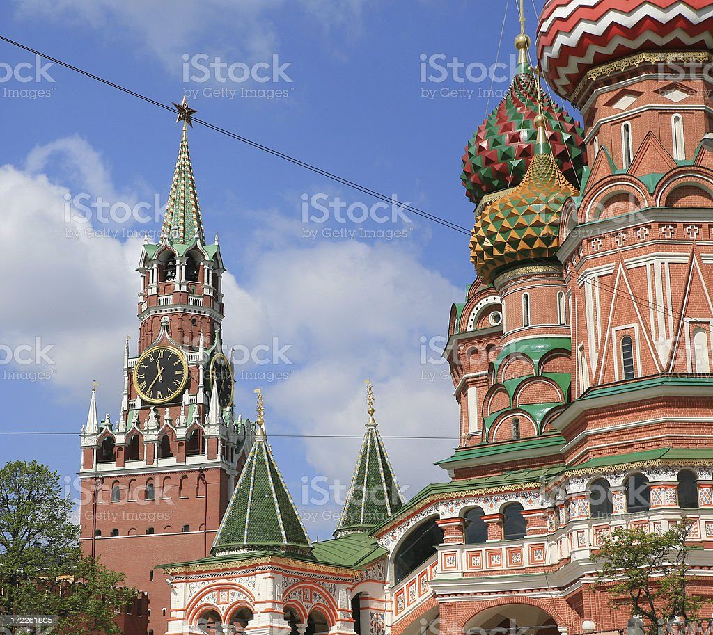 Saviour Gate Tower in the background with St Basil's Cathedral , stock photo