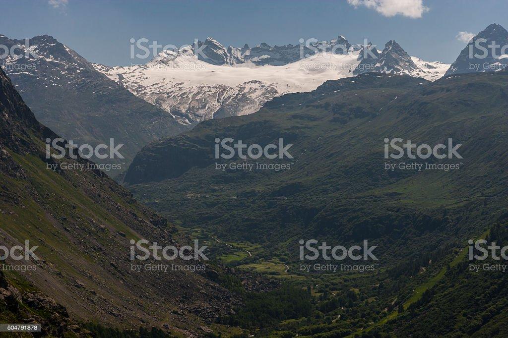 Savoie, France. Glacier du Mulinet and Arête du Mulinet stock photo