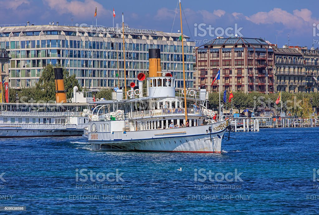MS Savoie on Lake Geneva stock photo