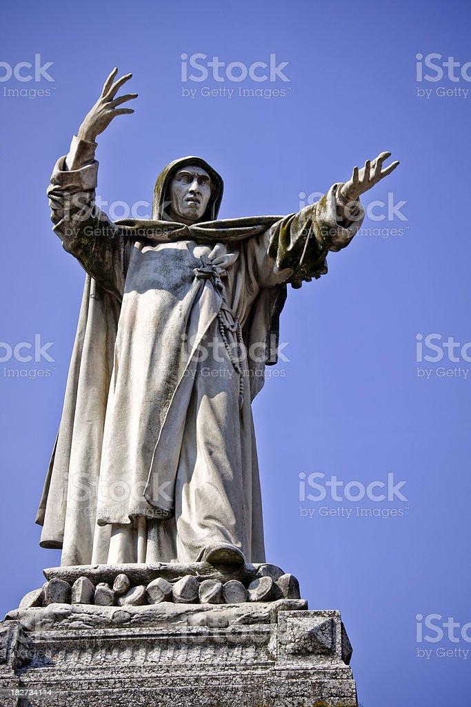 Savonarola Statue upon Blue Sky, Ferrara in Italy royalty-free stock photo