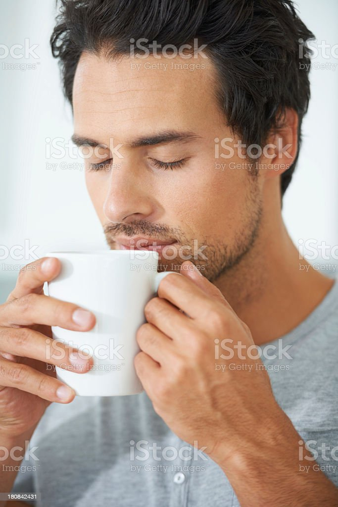 Savoring the sweet aroma of freshly brewed coffee royalty-free stock photo
