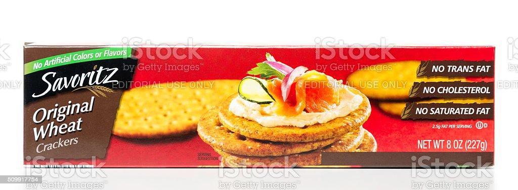 Savoritz Original Wheat Crackers box horizontal stock photo