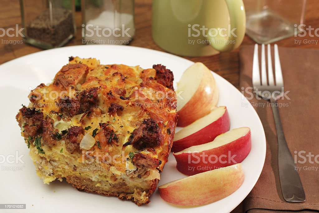 Savory Breakfast casserole stock photo
