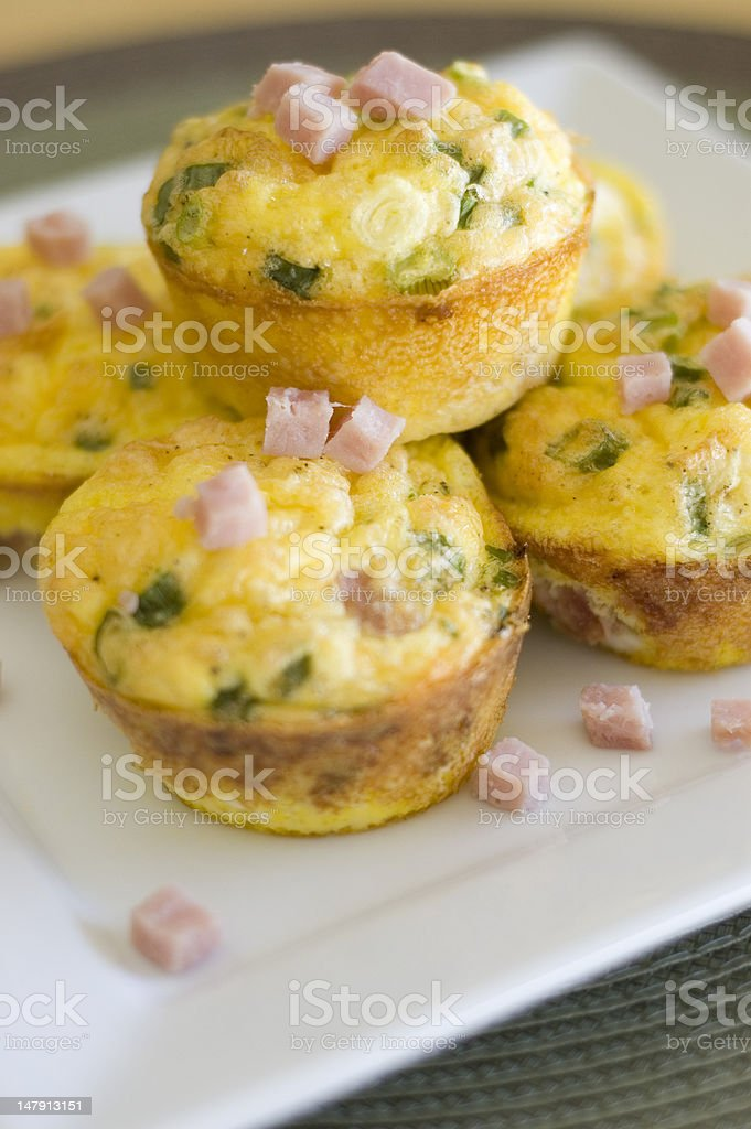 Savory Ham and Scrambled Egg Muffins stock photo