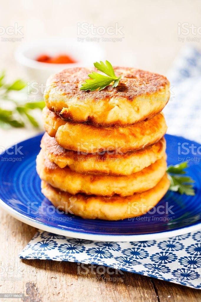 Savory pancakes stock photo