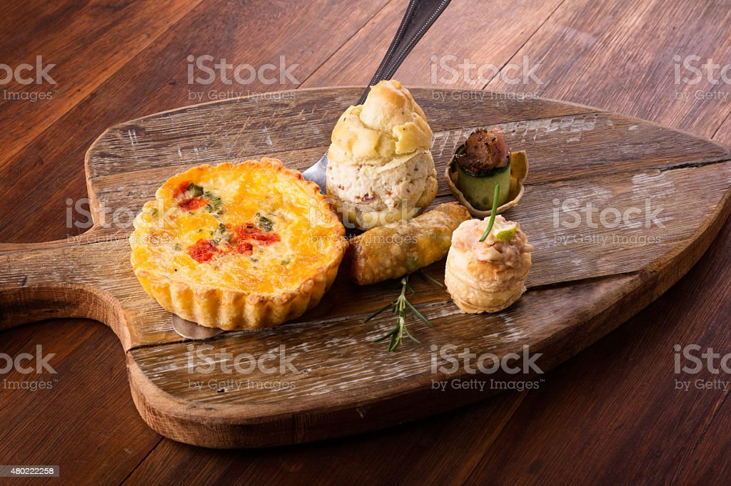 Savory pastry selection stock photo