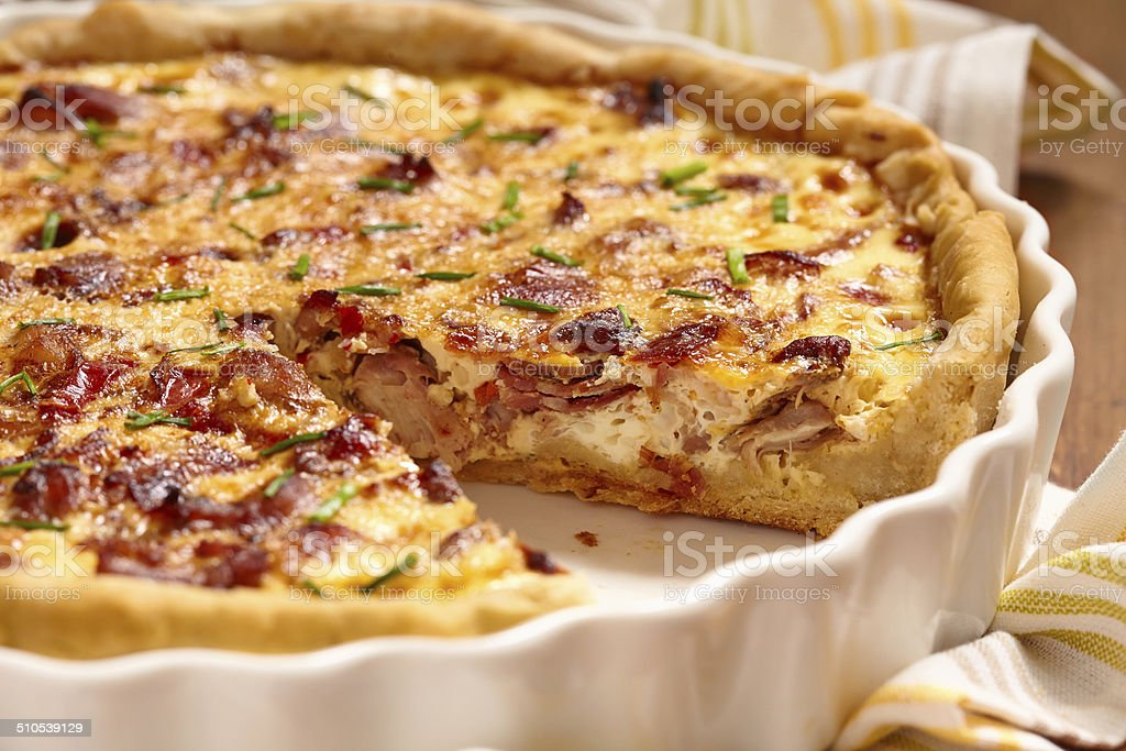 Savory pie with chicken stock photo